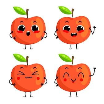 Een reeks schattige rode appelkarakters vectorillustratie met fruitkarakter dat op achtergrond wordt geïsoleerd