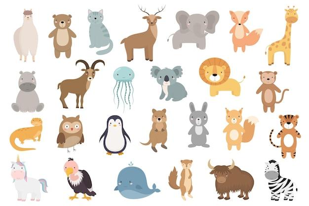 Een reeks schattige tekenfilmdieren