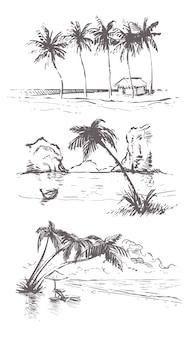 Een reeks schetsen van paradijselijke stranden op de eilanden