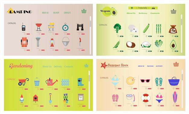 Een reeks sites voor online winkels van tuinieren camping strand goederen vegetarisch eten vector cartoon