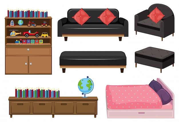 Een reeks slaapkamerelementen