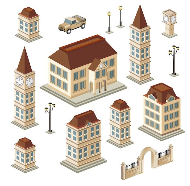 Een reeks stedelijke en antieke gebouwen in isometrisch