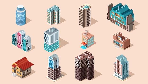 Een reeks stedelijke en industriële gebouwen in platte isometrische stijl.