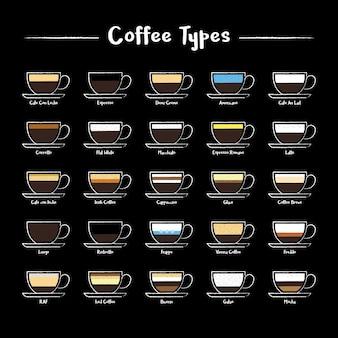 Een reeks van koffie types pictogrammen in krijt stijl