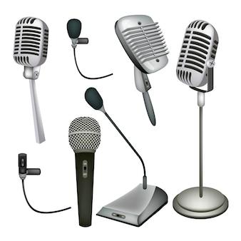 Een reeks van microfoon op witte achtergrond