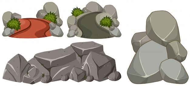 Een reeks van rock op witte achtergrond