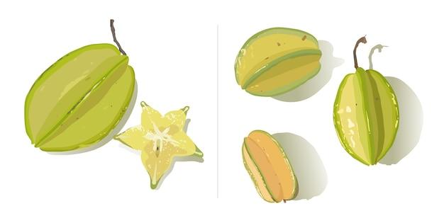 Een reeks van sterfruit dat op witte achtergrond wordt geïsoleerd