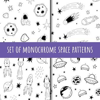 Een reeks vector naadloze zwart-wit patronen. kosmos. tekening