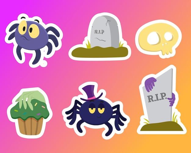Een reeks vectorillustraties van een grappige vleermuis en een spook met een halloween-snoep