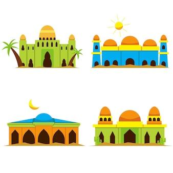 Een reeks vectorillustraties van een moskee in de woestijn met verschillende vormen en kleuren