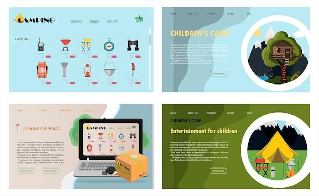 Een reeks vectorsitepagina's voor campinggezondheidskampen en toerisme vlakke afbeelding