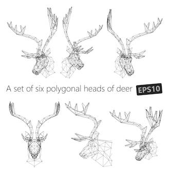 Een reeks veelhoekige hoofden van herten.
