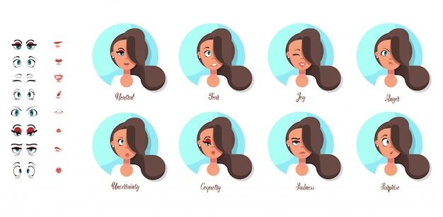 Een reeks vrouwelijke emoties