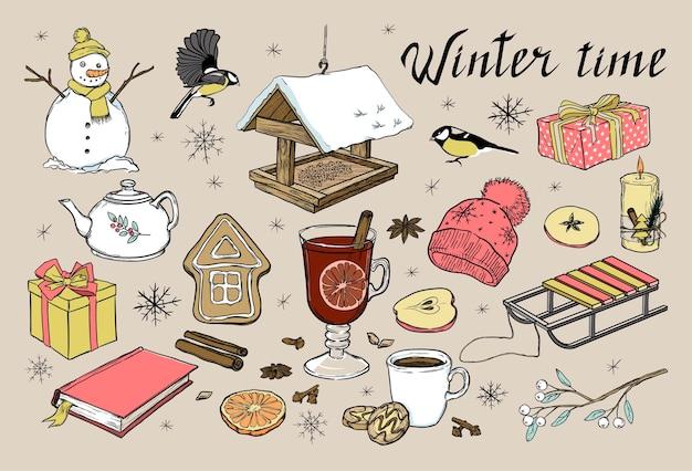 Een reeks winterelementen handgetekende vectorillustratie voor kerstmis of nieuwjaar