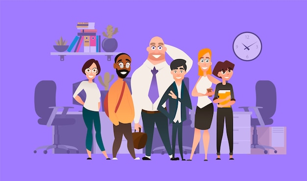 Een reeks zakelijke karakters voor ondernemers. teamwerk cartoon afbeelding. verschillende mensen op de achtergrond van het kantoor.