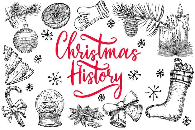 Een reeks zwart-witte vectorillustraties op een winterthema dat met de hand is getekend thema van vakantievakanties