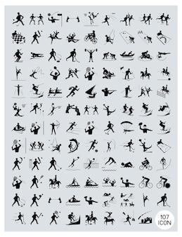 Een reeks zwarte en grijze sportpictogrammen