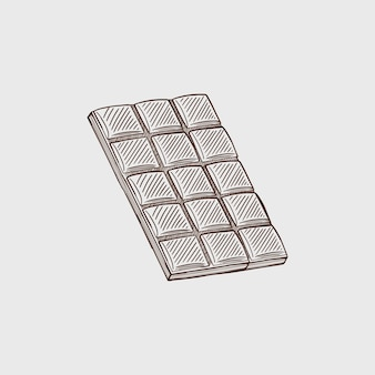 Een reep zwarte en witte chocolade vector schets geïsoleerde achtergrond een hele reep chocolade