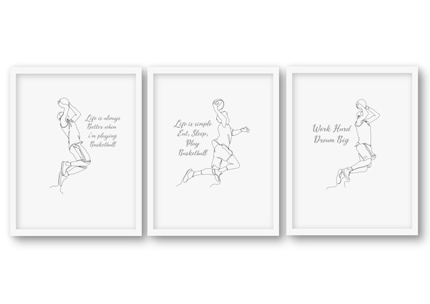Een regel basket ball set, poster stock illustratie