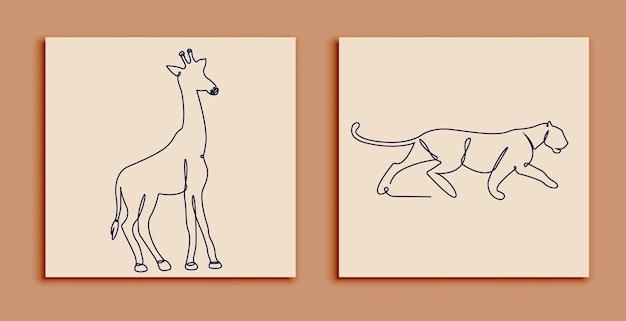 Één regel dieren set poster stockillustratie