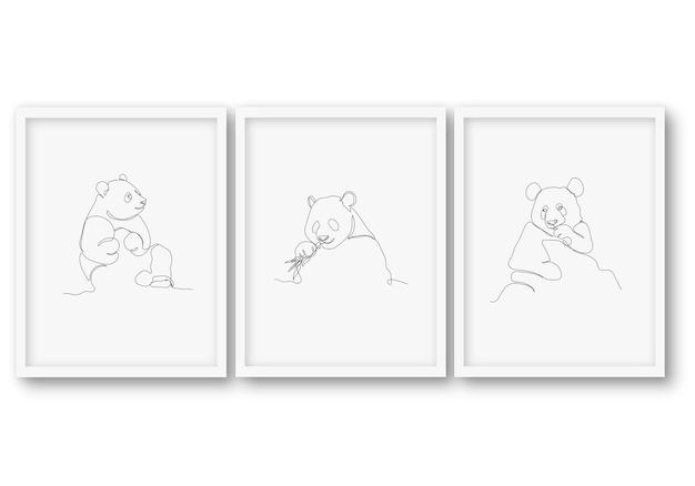 Één regel schattige dieren set poster stock illustratie