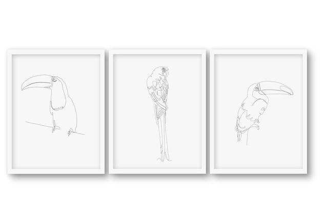 Een regel vogel instellen poster illustratie