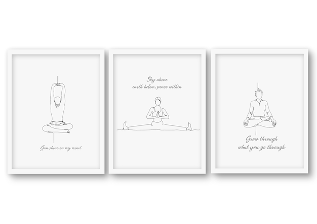 Een regel yoga pose set illustratie