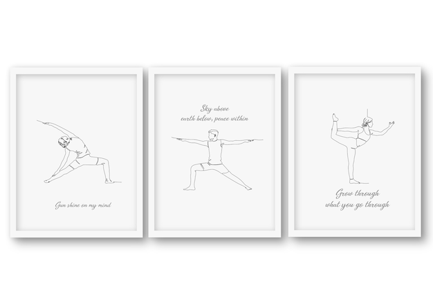 Een regel yoga pose set, poster stock illustratie