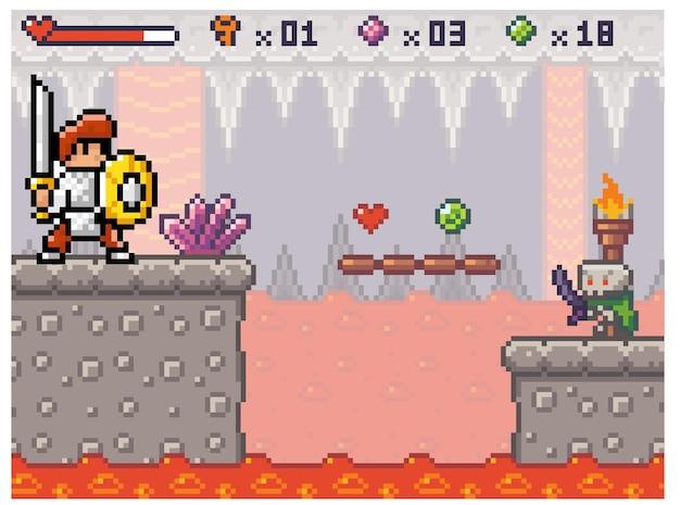 Een ridder in harnas loopt over een platform boven de lava