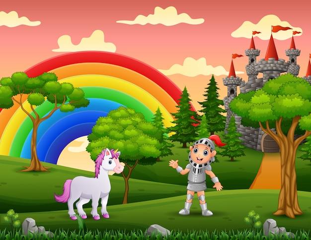 Een ridder met eenhoorn in kasteel tuin