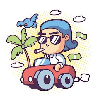Een rijke man rijdt in een auto