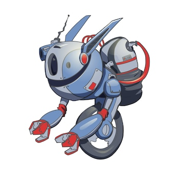 Een robot met een gyro op één wiel. kunstmatige intelligentie. illustratie, op wit.
