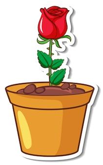 Een rode roos in een pot sticker