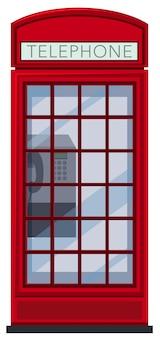 Een rode telefooncel op witte achtergrond