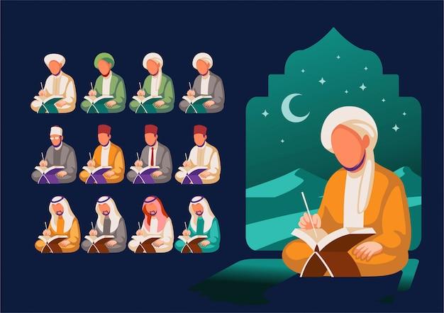 Een roedel moslims las de heilige koran-illustratie 's nachts achter in de woestijn.