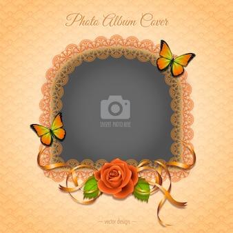 Een romantisch frame met een rode roos