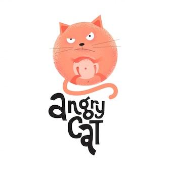 Een ronde boze rode kat ligt op zijn rug met zijn gekruiste poot