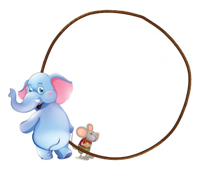 Een ronde lege sjabloon met een olifant en een muis