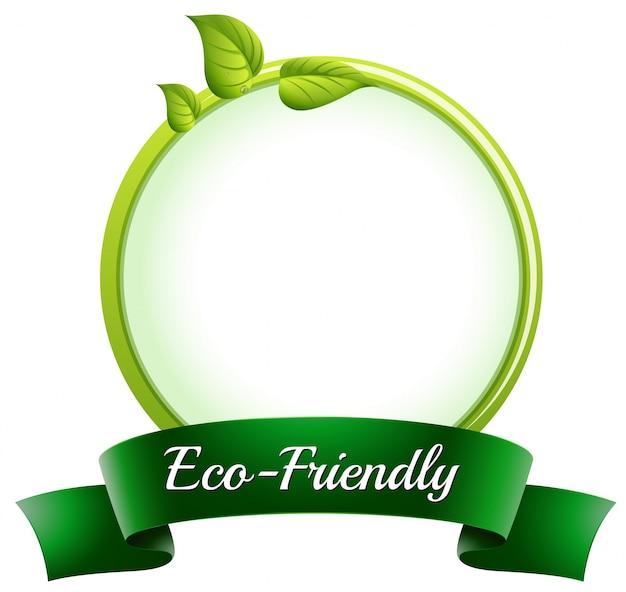 Een ronde lege sjabloon met onderaan een milieuvriendelijk etiket