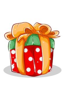 Een rood groen cadeau kerst met geel lint