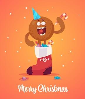 Een roodharige man stapt uit een sok met cadeautjes en houdt snoep in zijn handen.