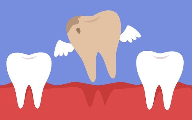 Een rotte tand met vleugels vliegt uit de mond tandheelkunde en cariësbehandeling