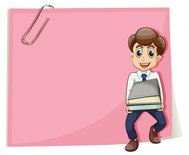 Een roze leeg papier met een zakenman die sommige documenten bij zich heeft