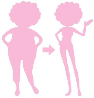 Een roze silhouet van lichaamstransformatie