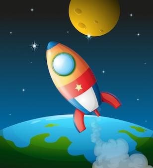 Een ruimtevaartuig in de buurt van de maan