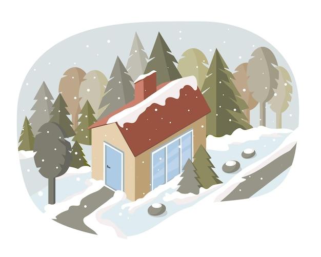 Een rustiek familiehuis in het bos in de winter