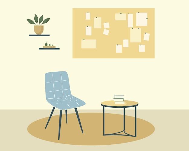 Een rustruimte met een fotobord. meubels en kamerplanten. vlak