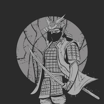 Een samoerai in een mantel en een katanazwaard