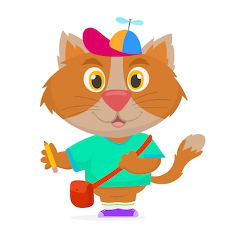 Een schattig kattenkarakter dat naar school gaat