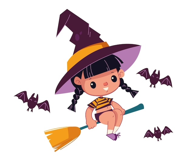 Een schattig klein heksenmeisje zit op een bezemsteel in een pet het monsterkarakter van de vleermuizen cartoon